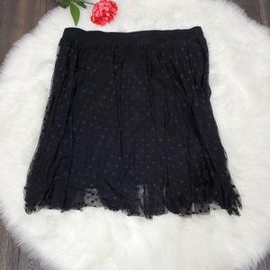 Torrid Black Skirt Midi Polkadots Sheer Overlay 4X